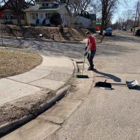 ARCC Psychology Professor Jim Biederman cleaning his local storm drain.